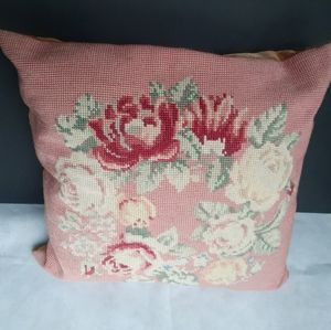 Vtg needlepoint pillow